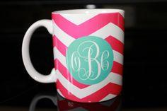 Coffee Mug - Pink Chevron with Monogram Coffee Mug - Custom Coffee Mug - Personalized Mug.