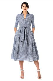 Our gingham check cotton dress is cinched with a wide obi style sash tie belt and flared with inverted pleats and banded hem at the full skirt. Trendy Dresses, Nice Dresses, Casual Dresses, Fashion Dresses, Summer Dresses, Modelos Fashion, Frocks For Girls, Luxury Wedding Dress, Gingham Dress