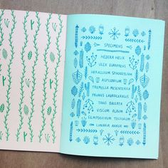 Winter Wild is a pocket companion for discovering winter plant life - nourishing. Winter Wild is a Art Zine, Winter Plants, Blue And Green, Green Paper, Paper Cover, Printed Pages, Fancy, Illustrations, Grafik Design