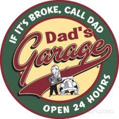 Dad's Garage Round Tin Sign Placa de lata