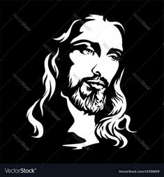 The face of jesus christ Royalty Free Vector Image Jesus Drawings, Dark Drawings, Spiritual Paintings, Jesus Face, Kairo, 3d Laser, Silhouette, Adobe Illustrator, Scroll Saw Patterns
