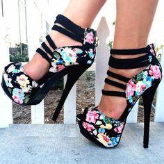 Shoespie Flower Print Peep Toe Back Zipper Platform Heels
