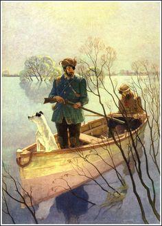 """N.C. Wyeth  24_menofconcord_wyeth_plate07_""""Muskrathunters"""" 1,048×1,461 pixels"""