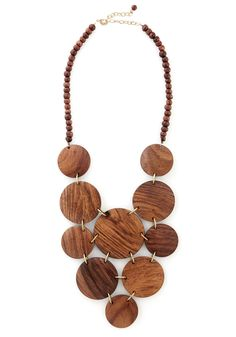Wood bib necklace.