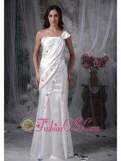 Pretty Column One Shoulder Evening Dress Taffeta Beading and Ruch Floor-length- $158.26