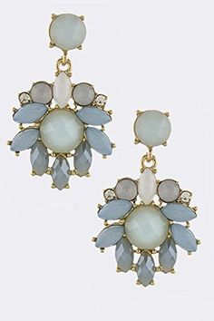 TRENDY FASHION JEWELRY GEOMETRIC FLORAL DECO DROP EARRINGS BY FASHION DESTINATION  Blue * Continue to the product at the image link. Note:It is Affiliate Link to Amazon.