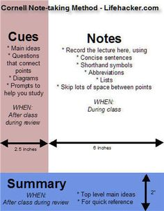 Cornell Note-taking Method by Lifehacker.com : Make your lecture notes worthwhile.