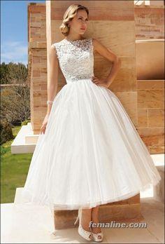 111 Elegant Tea Length Wedding Dresses Vintage