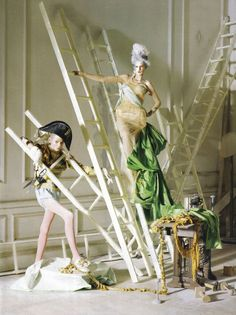 """Stella Tennant and Imogen Morris Clarke in """"Lady Grey"""" by Tim Walker for Vogue Italia March 2010"""