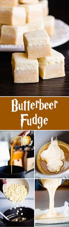 Everyone loves butterbeer, so here is a butterbeer fudge a butterscotch base with a creamy top, just like the drink itself (yum food sweet treats) Fudge Recipes, Candy Recipes, Sweet Recipes, Dessert Recipes, Ark Recipes, Fudge Flavors, Just Desserts, Delicious Desserts, Yummy Food