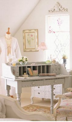 """""""french decor for office or craft room"""" #furniture #painting #craftroom #inspiration"""