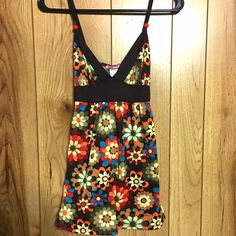 Flower Power Triangle Tank Super 60's flower power tank with triangle too and tie back.  100% Rayon Maxrave Tops Tank Tops