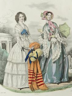 1848 Antique FASHION lithograph Two Ladies in by AntiquePrintsOnly, $18.00