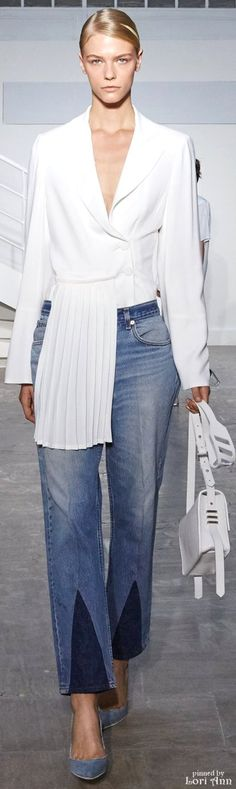 Luxury. Denims. With this long Tunic. Blouse.  Supreme. Broadcloth in Crisp Off-White   Worn with THE Surest of cotton durable. DENIM   Spring 2016 RTW