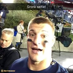 The man himself.  Rob Gronkowski -Gronk selfie on the NFL Snapchat.
