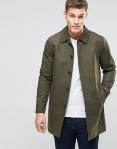 7aebe4aa4f0 ASOS Single Breasted Trench Coat With Shower Resistance In Khaki Asos,  Stylish Mens Outfits,