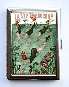 "Art Deco Swimmers La Vie Parisienne Flapper Cigarette Case id case Wallet Business Card Holder #9. Case hold about 18 to 20 cigarettes. Or you can hold Ids, business cards or other things. The case is metal with two hinged side. This case opens through a side push button. The size of the case is 4 1/4"" tall by 3 1/4"" inches wide closed by 1/2"" deep. Image is protected by clear epoxy."