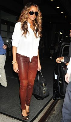 Ciara rocking waves and leather pants