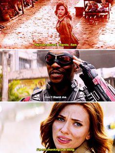 """Go ahead. You can pet him."" (Sam, Natasha and Redwing, ""Captain America: Civil War"") - visit to grab an unforgettable cool 3D Super Hero T-Shirt!"
