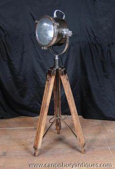 Photo of Wood Chrome Tripod Lamp Architectural Spot Light Floor Lamp Lighting