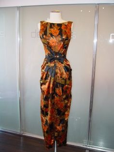 James Galanos fall floral print gown with waist bow and black satin jacket, Floral Evening Gown, Evening Gowns, Floral Print Gowns, Floral Prints, Vintage Outfits, Vintage Fashion, Vintage Clothing, Autumn In New York, Satin Jackets