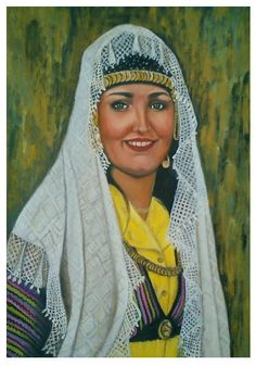 Oil painting. A Syrian province girl from Sweda.