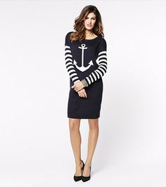 Get a bit naughty-cal with this anchor sweater dress! It features striped sleeves and a cool anchor graphic.