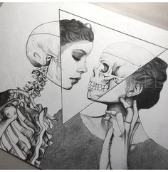 Art sketches ideas - ¤ madebypernille: i love art that mixes skeletal struc Art Inspo, Inspiration Art, Drawing Sketches, Cool Drawings, Pencil Drawings, Amazing Drawings, Hard Drawings, Tattoo Sketches, Drawing With Pencil
