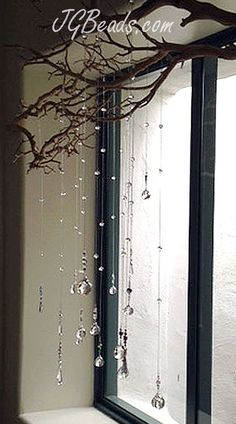 branch with suncatcher crystals <3