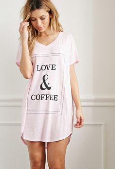 """Forever 21 Love and Coffee Nightdress   Pink/Black   Crafted from uber-comfy knit with a super-relaxed silhouette, this nightdress already has all the makings of a bedtime mainstay. But since your personality should pop in all that you wear, it features a bordered """"Love & Coffee"""" graphic front and center."""