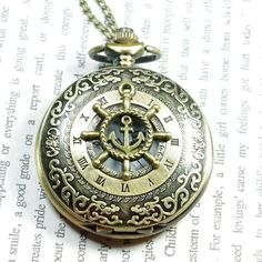 pirate steampunk rudder pocket watch locket by caishenbeads. , via Etsy.