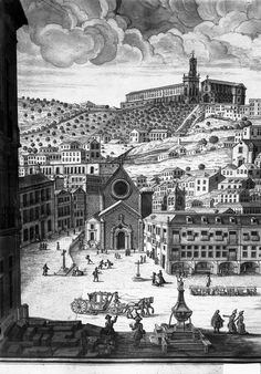Gravure représentant le Rossio avant le tremblement de terre de 1755. Eau-forte, Zuzarte, 18è s, détail.