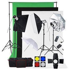 BPS Profi 750W Fotostudio Set Studioleuchte Fotografie Studioblitz Studioset inkl. Abschirmklappe Schirm 3x250W Synchronblitzlampe Softbox Hintergrundsystem Stoff(weiß schwarz grün) Lampenstativ Funkauslöser Tragtasche - http://kameras-kaufen.de/bps/750w-bps-profi-1200w-fotografie-fotostudio-set-2