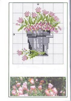 cross stitch pink tulips in a grey bucket