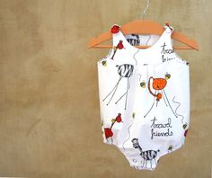 PABUITA, MADE IN ITALY Baby Boy Romper-Newborn Clothes-Infant Romper in white cotton and Fun Giraffes
