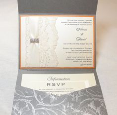 DESIREE1Lace Wedding Invitation Invite Vintage by LavenderPaperie1, $881.25