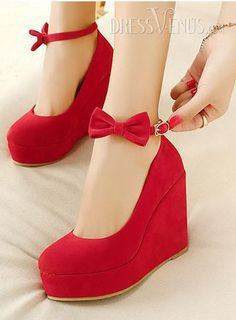Hot Sale Red Suede Upper Wedge Heels with Bowtie,$18.99.