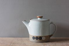 white glazed stoneware teapot by award winning potters James and Tilla Waters from their studio in Carmarthenshire, Wales