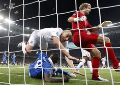 Italy's Balotelli collides with England's Terry as Hart turns away during their Euro 2012 quarter-final soccer match at the Olympic stadium in Kiev. DARREN STAPLES/REUTERS