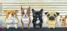 Brown/Red Boston Terrier The Line Up Print por rubenacker en Etsy