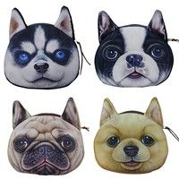 Wish | women's fashion Children Cute 3D Dog Face Zipper Case Wallet Makeup Bag Card organizer Keys Pouch Coin Purse Hot Gifts