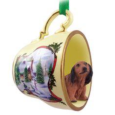 Dachshund Dog Christmas Holiday Teacup Sleigh Ornament Figurine Red Longhair