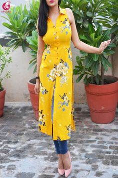 Buy Yellow Printed Front Slit Crepe Kurti Online in India Collar Kurti Design, Salwar Suit Neck Designs, Silk Kurti Designs, Simple Kurta Designs, Kurta Neck Design, Kurta Designs Women, Kurti Designs Party Wear, Sleeves Designs For Dresses, Dress Neck Designs