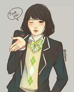 Min YoonGi Suga girl Fanart. Cr. Owner