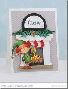 Santa's Elves, Gift Card Greetings, Fireplace Die-namics, Stitched Arch STAX Die-namics, Wild Greenery - Barbara Anders #mftstamps