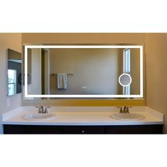 Innoci-USA Terra LED Wall Mount Lighted Vanity Mirror Featuring IR Sensor, Rocker Switch and Durable Aluminum Frame Bathroom Mirror Lights, Lighted Vanity Mirror, Led Mirror, Bathroom Fixtures, Zen Bathroom, Bronze Bathroom, Light Bathroom, Wall Mounted Vanity, Wall Mounted Light