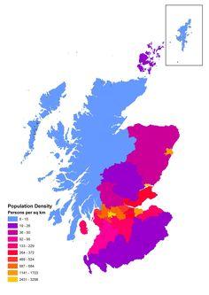 Population density of Scotland Gcse Geography, Anthropology, About Uk, Maps, Scotland, Religion, Politics, Shelves, Landscape