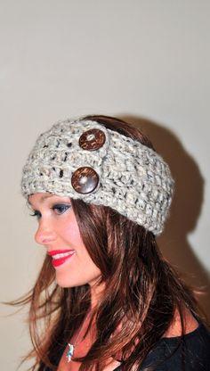 Crochet Headband Earwarmer Buttons Head wrap Crochet by lucymir