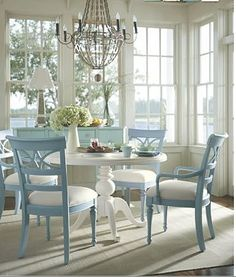Blue and white dining room via The Decorologist