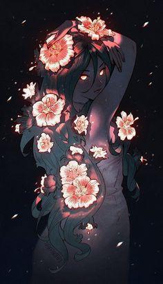 Night flower by nakanoart on deviantart omg stuff anime art, art, manga art. Art Inspo, Inspiration Art, Pretty Art, Cute Art, Art Sketches, Art Drawings, Bel Art, Art Mignon, Art Manga